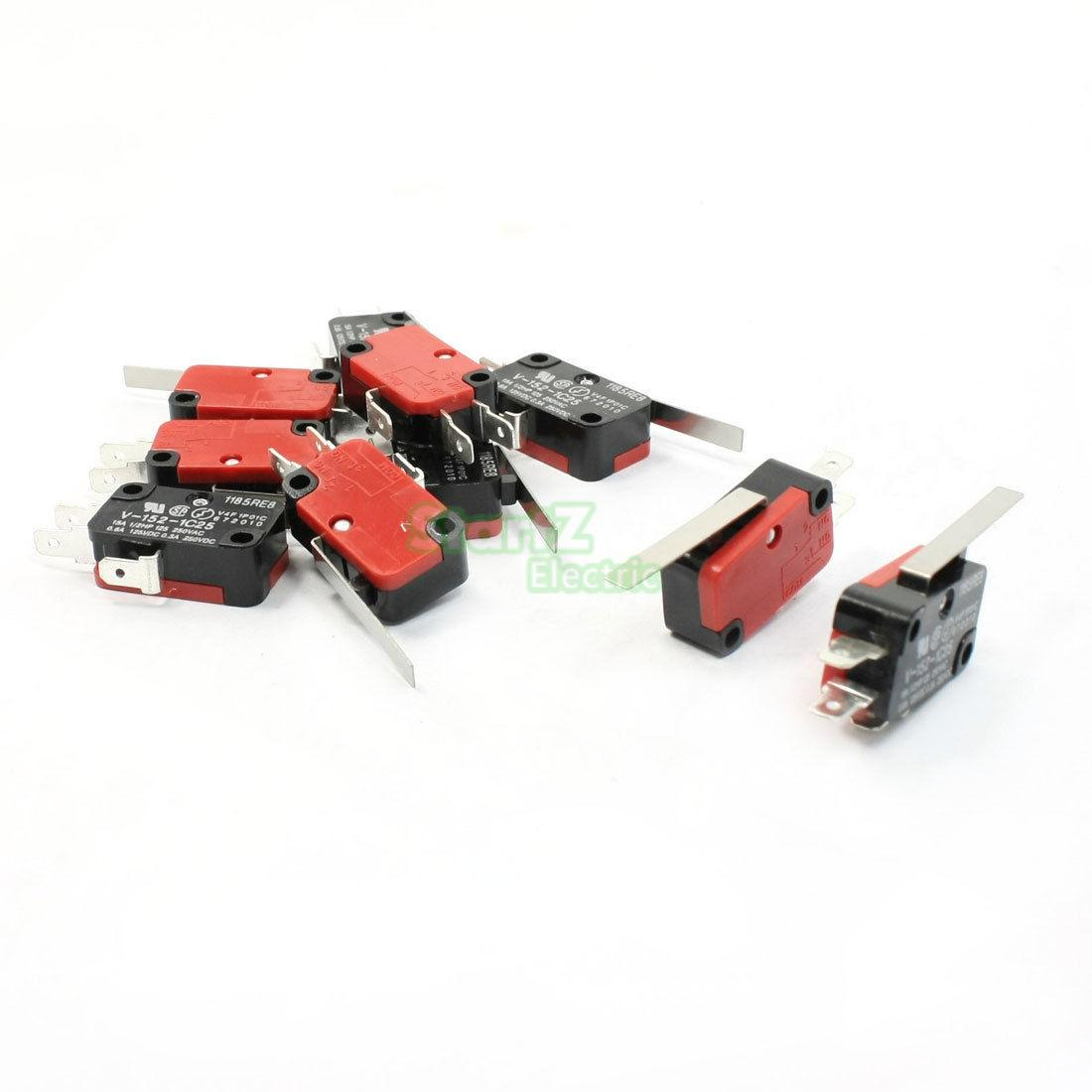 V-152-1C25 SPDT 1NO 1NC 3Pin Short Straight Hinge Lever Limit Micro Switch 10Pcs 10pcs v 155 1c25 momentary limit micro switch spdt snap action switch