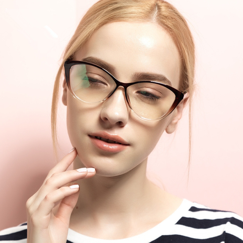 HUITUO N TR90 Goggles Eyeglasses Female Grade Clear Glasses Retro Computer Spectacle Frames for Women Cat Eye Optical Eyewear