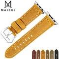 Ремешок для часов MAIKES из натуральной коровьей кожи для Apple Watch 44 мм 40 мм 42 мм 38 мм серии 4/3/2/1 iWatch