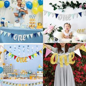 Image 5 - QIFU 1st Birthday Party Decorations Kids Favors First Birthday Banner Flag ONE Year Bunting Garland Baby Shower Decor Boy Girl