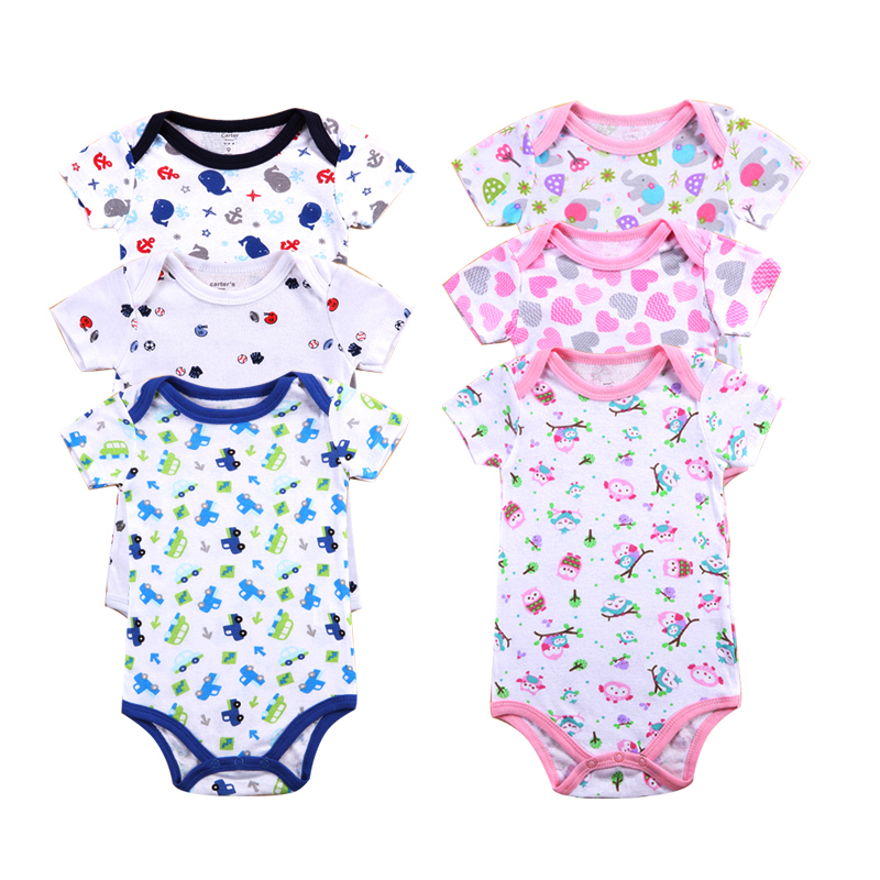 Newborn baby Bodysuit Infant Jumpsuit Overall Summer 100% Cotton Short Sleeves O-Neck boy girl Romper Clothes set