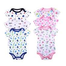 Neugeborenes Baby Body Overall Overall Overall Sommer 100% Baumwolle Kurzarm O-Neck junge Mädchen Strampler Kleidung gesetzt