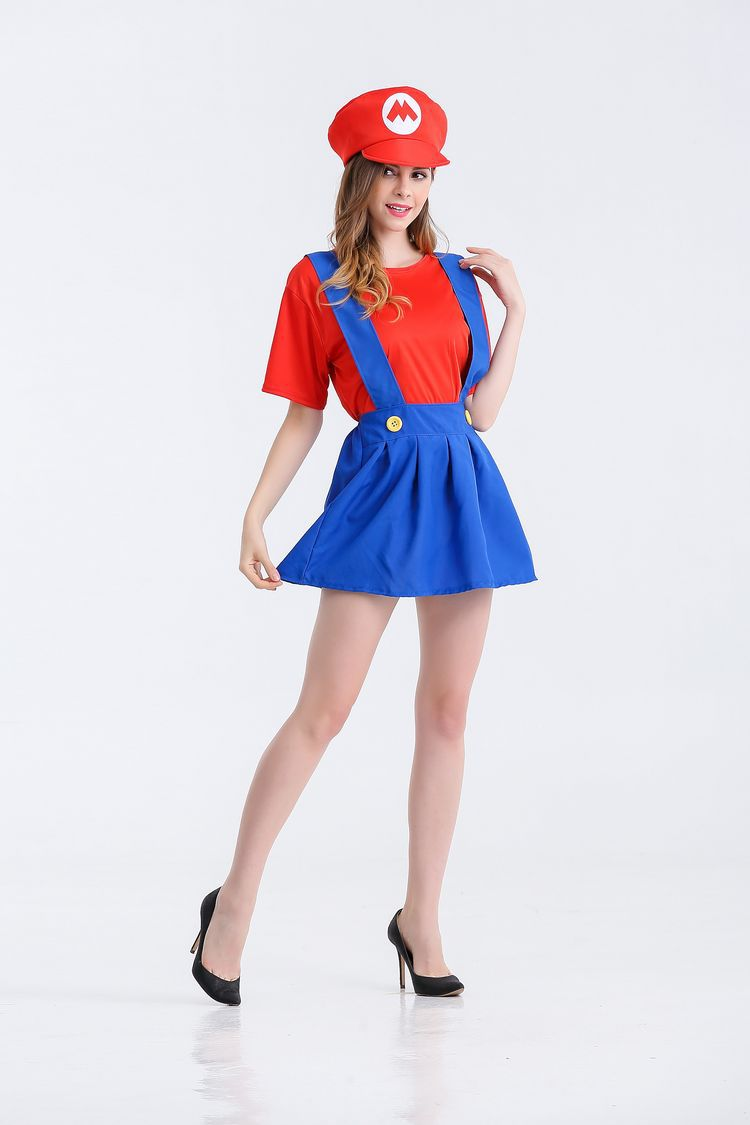 Halloween sexy anime cosplay Costumes Hot  Super Mariou bros figures lovey skirt Set  Party MARIO  Costume for women 2123