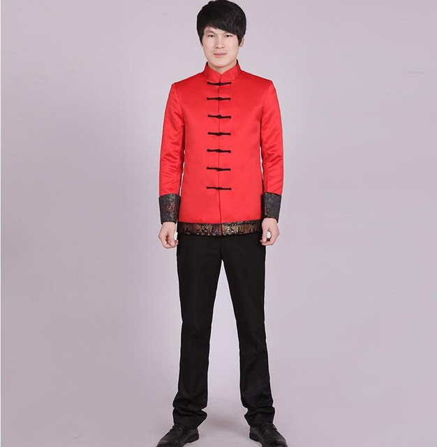 China Style Long Sleeve Chinese Traditional Clothing Wear  Red  Jacket Men's Tang  Vintage Stand Collar  Top