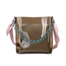 цена Pvc Clear Transparent Acrylic Top Handle Women Handbag Retro Waterproof Jelly Bag Vacation Wrist Bag Designer Crossbody Bag Tote в интернет-магазинах