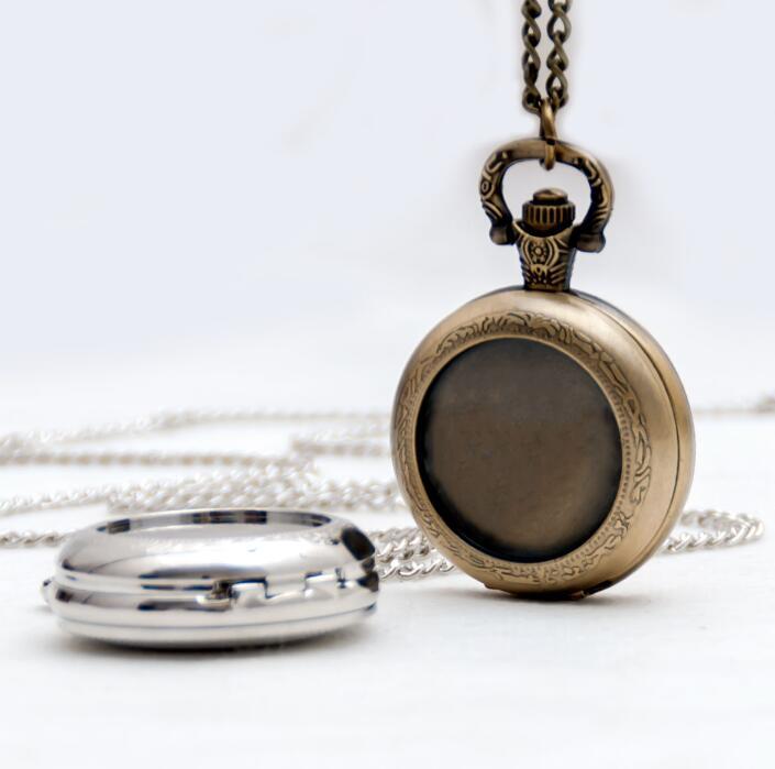 Vintage Style Bronze Silver DIY Pocket Watch Pendant Wholesale Free-map Pocket Watch Good Quality