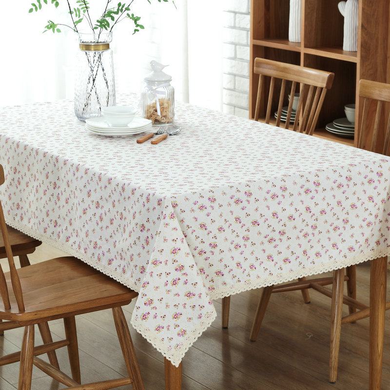 Pastoral Style Small Flower Print Tablecloth Dining Table Cloth Rectangular  Linen Cotton With Lace Edge Table Cover In Tablecloths From Home U0026 Garden  On ...