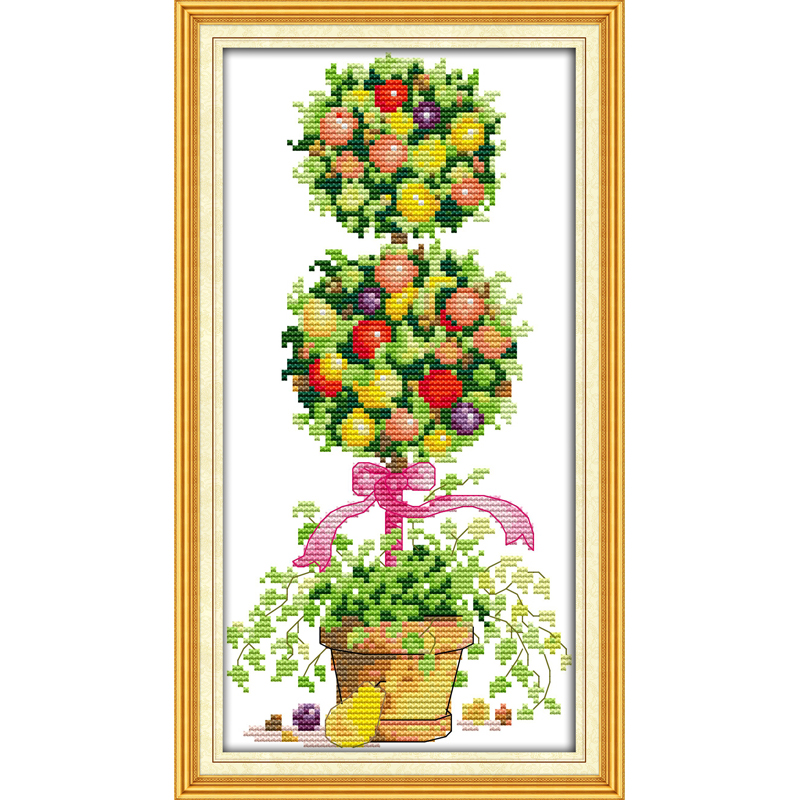 Everlasting love Colorful rich tree Chinese cross stitch kits Ecological cotton Fabric 11 CT DIY christmas decorations for home