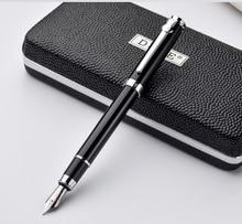 Duke سلسلة ألياف الكربون الفاخرة الأسود والفضي كليب قلم حبر 0.5 مللي متر المعادن الحبر أقلام مع هدية الأصلي علبة شحن مجاني