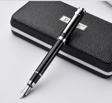 Duke Carbon Fiber Series Luxury Black and Silver Clip Fountain Pen 0.5mm Metal Ink Pens with Original Gift Case Free Shipping