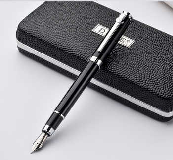 Duke Carbon Fiber Series Luxury Black and Silver Clip Fountain Pen 0.5mm Metal Ink Pens with Original Gift Case Free Shipping - Category 🛒 All Category