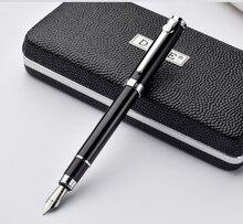 Duke karbon Fiber serisi lüks siyah ve gümüş klip dolma kalem 0.5mm Metal mürekkep kalemler ile orijinal hediye kutusu ücretsiz kargo