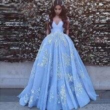 Élégant hors de lépaule robe de bal Satin robes de bal 2021 robe de soirée dentelle Appliques bal robe de soirée robes de Quinceanera