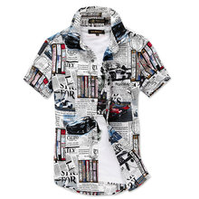 New Fashion Summer Short Sleeve Mens Shirt Casual Cotton Slim Fit Mens Dress Shirts Asian Size