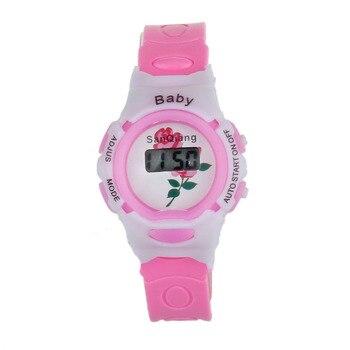 Детские часы Детские Красочные Мальчики Девочки время электронные цифровые наручные спортивные часы (случайный узор) q90312