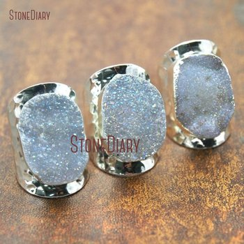 5Pcs Sliver Plated Free Form Ring Agates Druzy Ring Adjustable RM15311