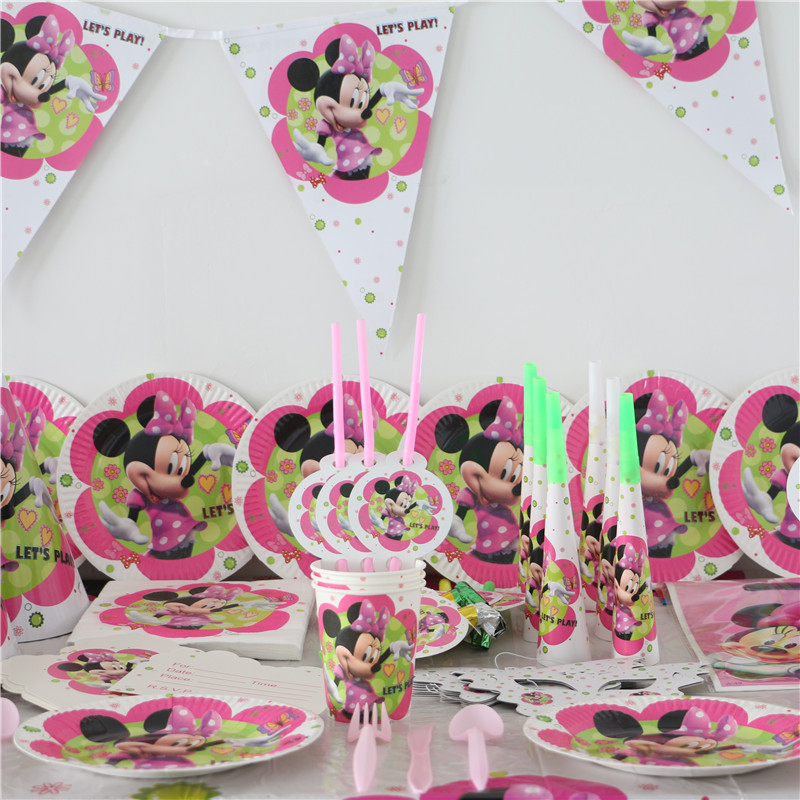 Buy Luxury Kids Birthday Party Decoration Set for 10 kids Minnie Mouse Decoration Theme Party Supplies Baby Birthday Party Pack P286