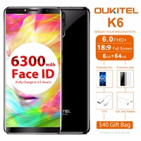 Oukitel K6 Mobile Phone Android 7 1 MT6763 Octa Core 6GB 64GB 6 0 18 9
