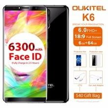 """Oukitel K6 мобильного телефона Android 7.1 mt6763 Восьмиядерный 6 ГБ + 64 ГБ 6.0 """"18:9 полный Экран 6300 мАч 4 камеры Уход за кожей лица ID 4 г смартфон NFC"""