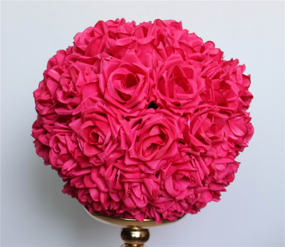 Silk rose centerpieces promotion shop for promotional silk rose hot 55cm2pcslot plumfuschia hanging flower ball centerpieces silk rose wedding kissing ball decoration ball tongfeng dhlflorist Gallery