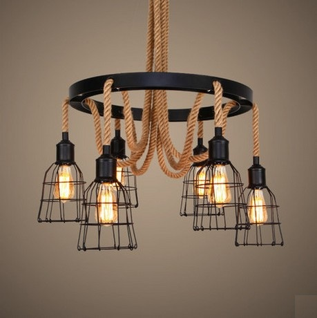 Loft Style Hemp Rope Iron Droplight Edison Vintage Pendant Light Fixtures For Dining Room Hanging Lamp Indoor Lighting loft style wooden cask hemp rope droplight edison vintage pendant light fixtures for dining room hanging lamp indoor lighting