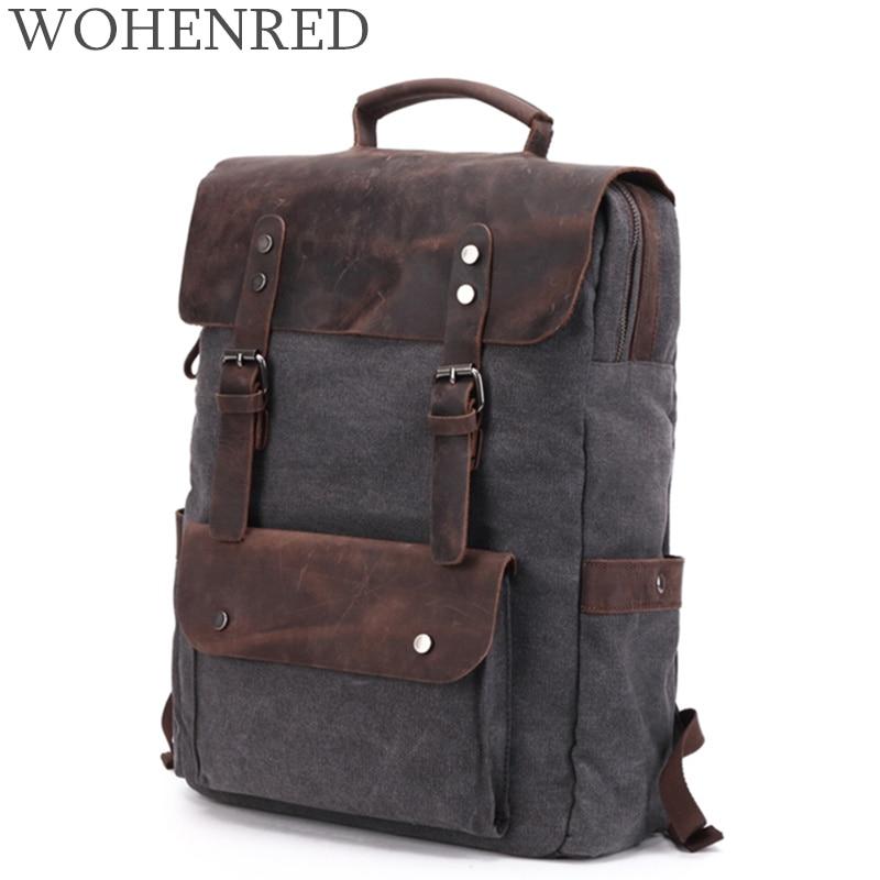 Vintage Backpacks For Men Canvas Backpack Large Capacity Travel Bags Luggage Crazy Horse Leather Laptop Backpack School Bookbag Vintage Backpacks For Men Canvas Backpack Large Capacity Travel Bags Luggage Crazy Horse Leather Laptop Backpack School Bookbag