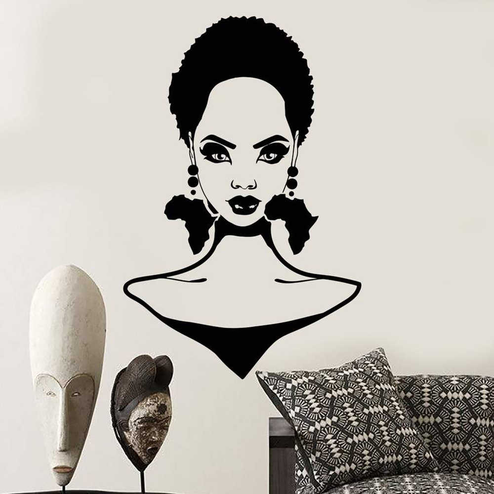African Girl Hairstyle Silhouette Wall Decal Africa Continent Earrings Stickers Barber Shop Wall Decor Beauty Salon Decals D555 Wall Stickers Aliexpress