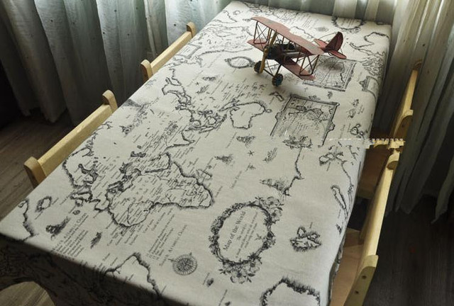 American Style Table Cloth The World Map Tablecloth Chart Table