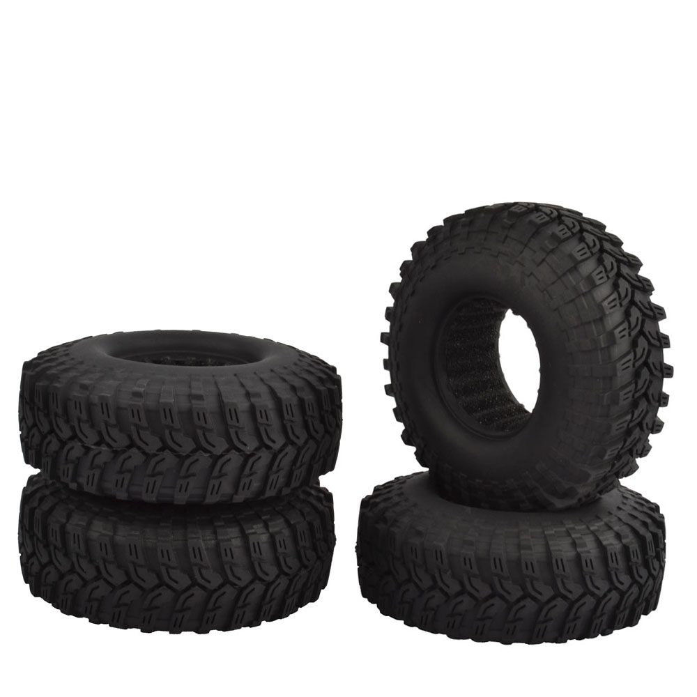 4pcs RC Crawler 1.9 Rubber Rocks 114mm Tires for 1:10 RC Rock Crawler Axial SCX10 90046 RC4WD D90 D110 TF2 Traxxas TRX-4 TRX4 4pcs 1 9 rubber tires