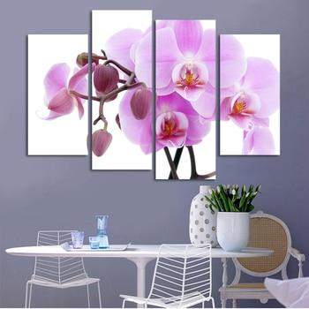 Модульные картины, 4 шт., бесплатная доставка, Дешевые абстрактные современные картины на стену, фиолетовый, розовый цветок, домашнее декора