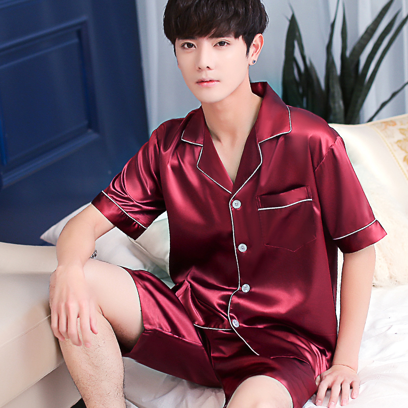 2019 Hot Plus Size Red Silk Men Pajamas Sets Solid Satin Sleepwear Men Summer Suit Pyjama Men Short Pyjamas Male S M L XL XXL