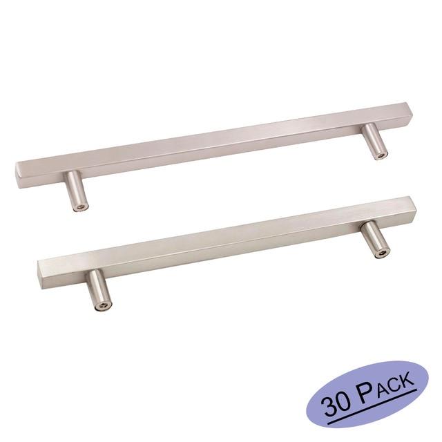 Us 33 74 Brushed Nickel Kitchen Cabinet Pulls J22bss Square T Bar Bathroom Cabinet Door Hardware Handles Furniture Drawer Knobs 20pack In Cabinet