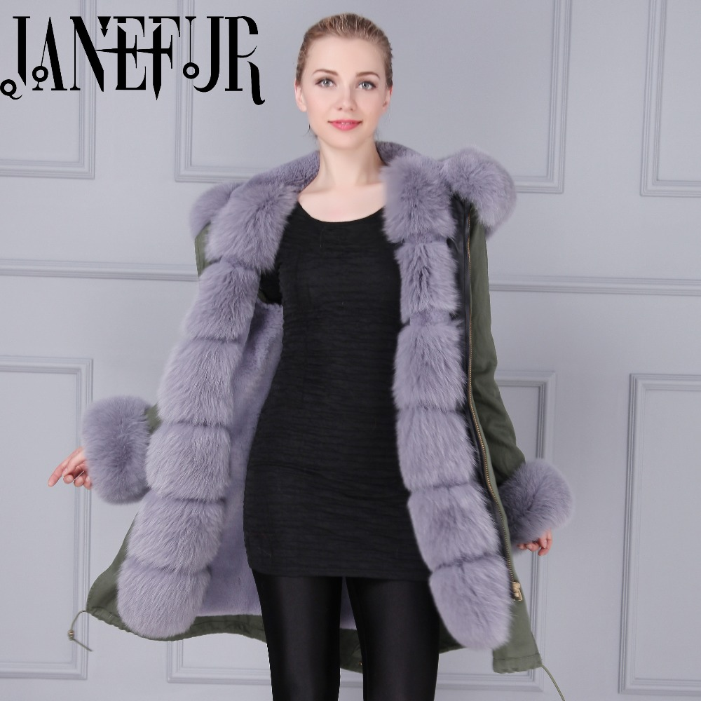 Italy Mr&Mrs desigh thick fur coat Huge grey fox fur collar mens women army green peal coat parka for hot selling