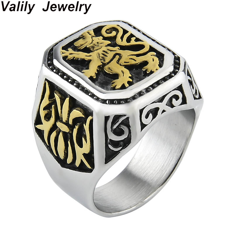 Valily New Arrival Lion Ring Punk Stainless Steel Solid Flower Vintage Ring Big For Men Cool Animal Rings Jewelry US Size in Rings from Jewelry Accessories