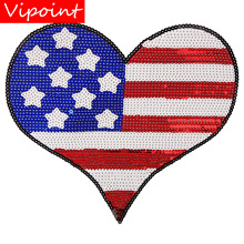 embroidery sequins USA flag heart patches for jackets,heart badges jeans,appliques clothing A202