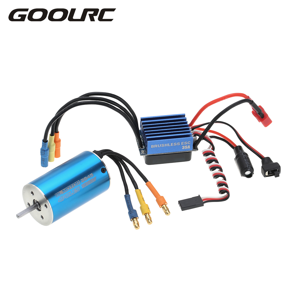 GOOLRC 2845 3100KV 4P Sensorless Brushless Motor & 35A Brushless ESC Electronic Speed Controller for 1/14 1/16 1/18 RC Car sensorless 35a brushless esc electric speed controller for rc car racing set ft