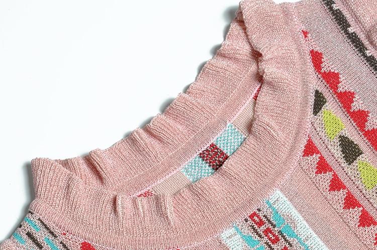 A ligne 4 Genou cou Robe Mode dessus 2018 De H5342 O Pink Été Stripes 3 Lady Automne Élégante Du Manches Imprimer Robes qBxqXYOgw