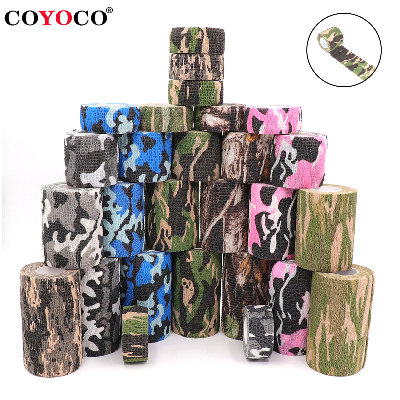 4.5m Camouflage Elastic Wrap Tape Hunt Disguise Elastoplast Self Adhesive Sports Protector Knee Finger Ankle Athletic Bandage