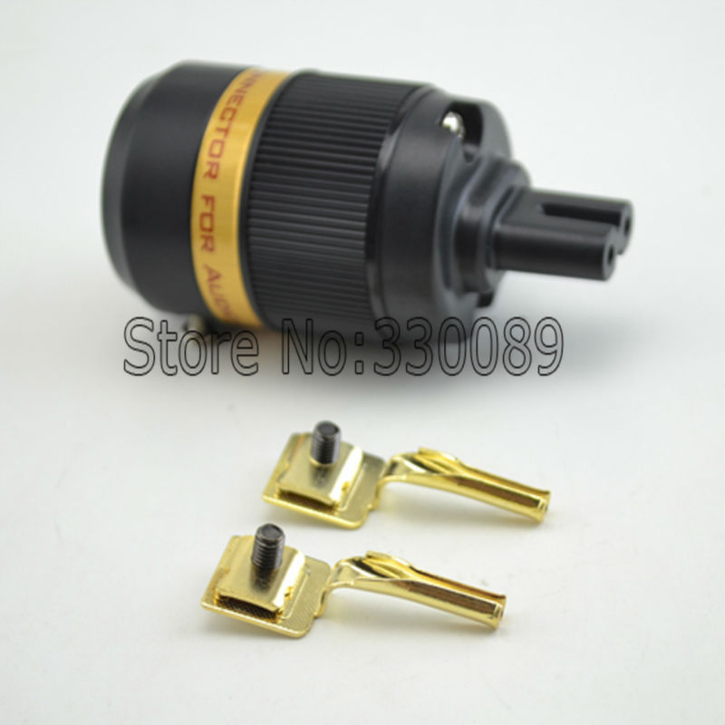 Free shipping Figure 8 IEC C7 Gold Plated Mains Power Plug Female Copper Connector
