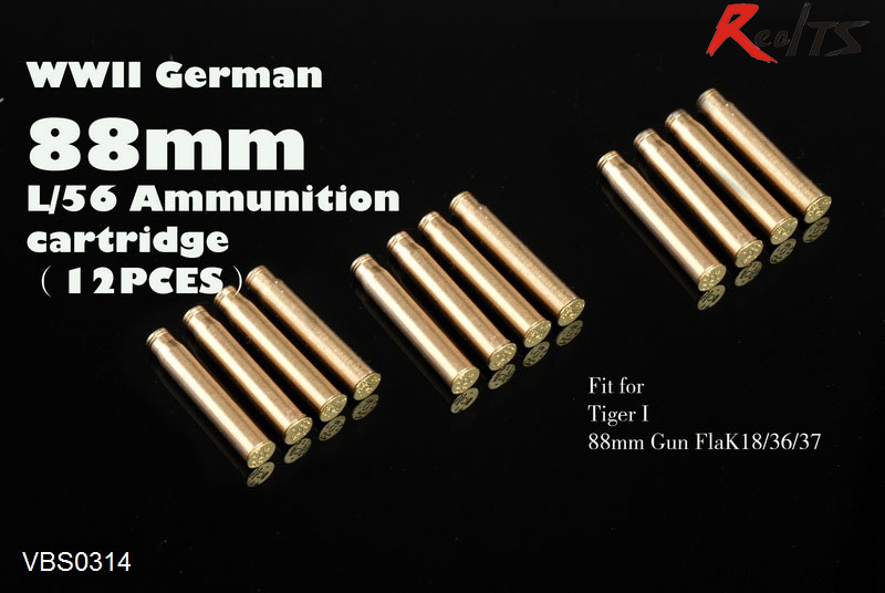 RealTS Voyager VBS0314 1/35 WWII German 88mm L/56 Ammunition Cartridge (12PCES)