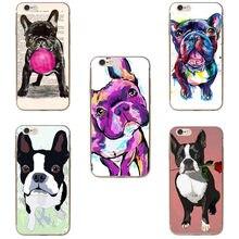 e0f11005531 Carcasa dura para teléfono con dibujos animados animales Boston Terrier  bulldog francés PC para iPhone 7 7 Plus 6 S 6 5 5S SE X ..