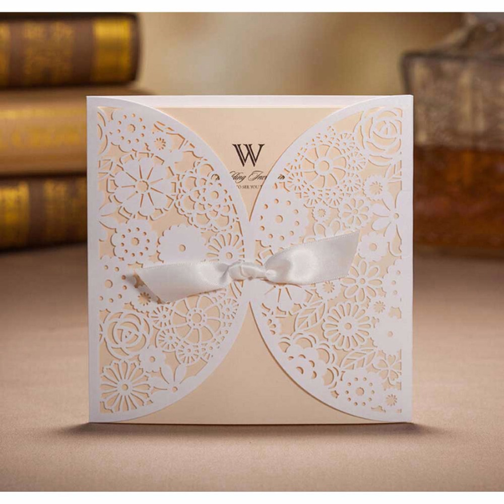 Brides Wedding Invitation Kit: Laser Cut Wedding Invitations Kits With Bowknot