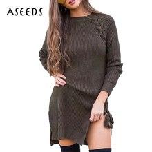 Зимние Топы осень 2017 модные сторона Пролитая на шнуровке тонкий свитер с длинным рукавом женские пуловеры дамы knittned джемпер женские свитера