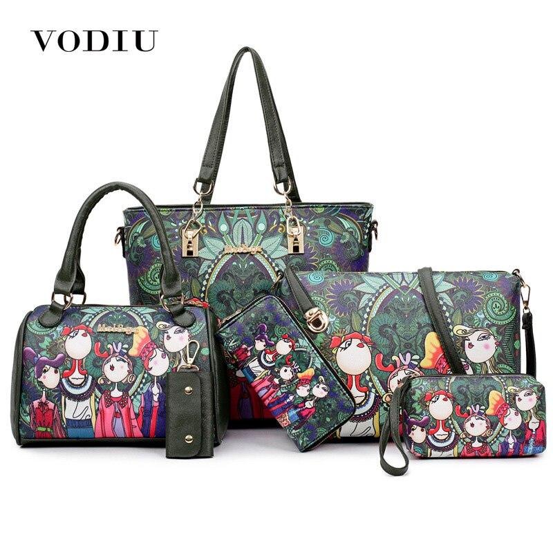Women Bag Leather Handbags 6 Pcs Composite Bag Women Shoulder Bag Key Handbags And Purses Cartoon