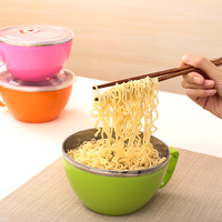 Sistema Noodle Bowl Lunch Cup Box Stainless Steel Food Container Free Safe