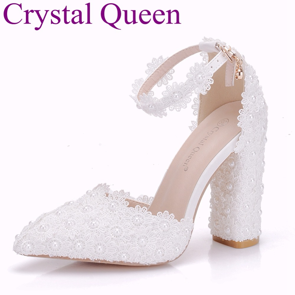Crystal Queen Lace Flower Sandals Pointed Toe Pumps Dress Party Shoes Square High Heels 2018 Summer