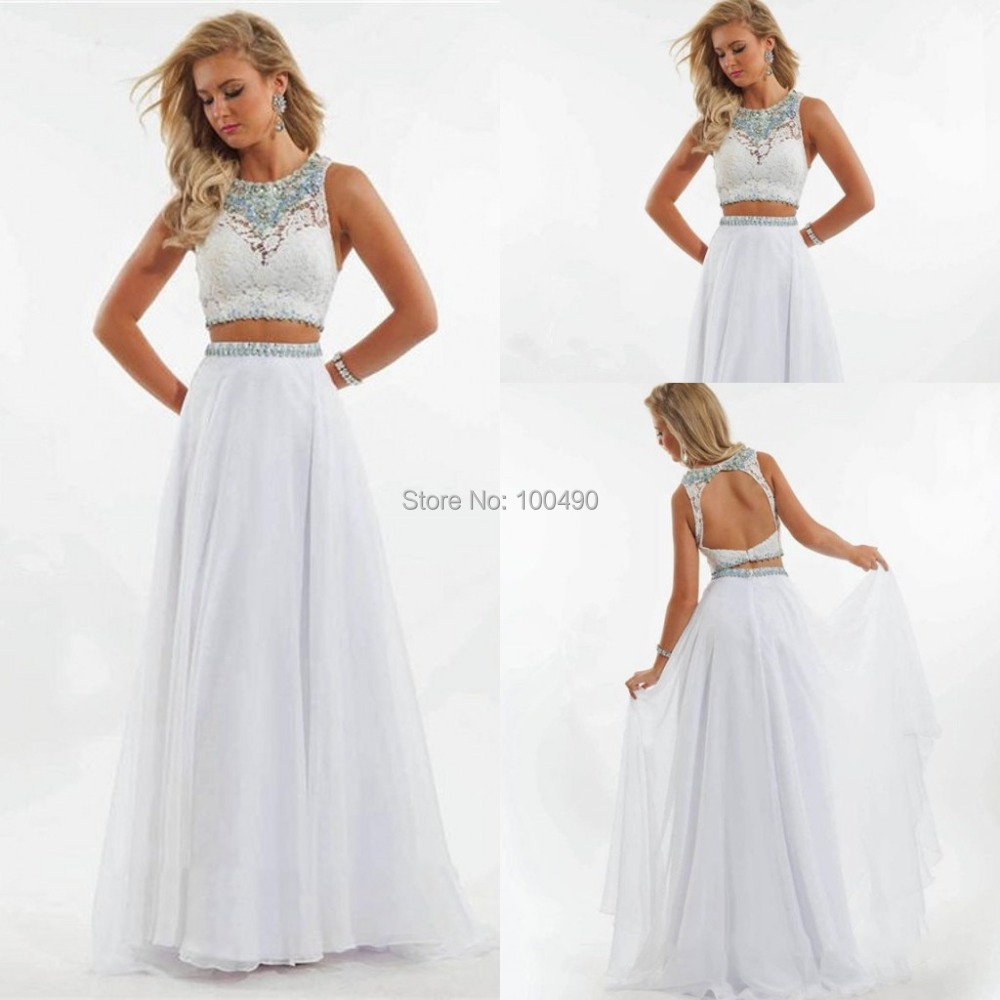 2015 New Arrival Long Beading White Prom Dress Two Piece 2