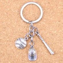 20pcs New Fashion DIY Keychain baseball glove helmet baseball bat Pendants Men Jewelry Car Key Chain Souvenir For Gift new fashion jewelry baseball bat