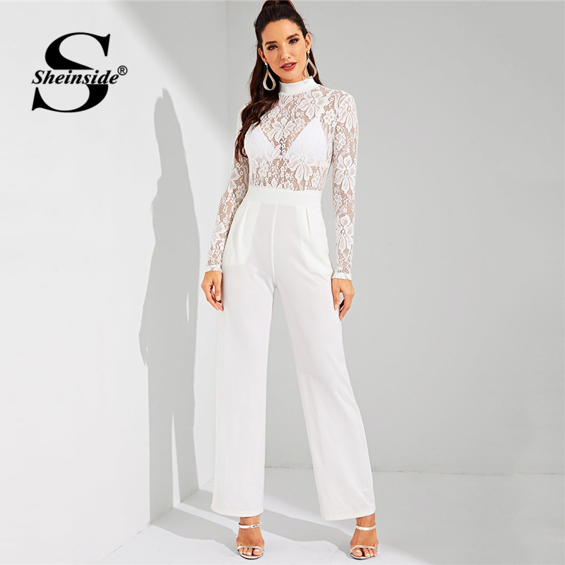 Sheinside Elegant Floral Lace Mock-Neck White Sheer   Jumpsuit   Women Solid Maxi   Jumpsuit   2019 Spring Mid Waist Wide Leg   Jumpsuits