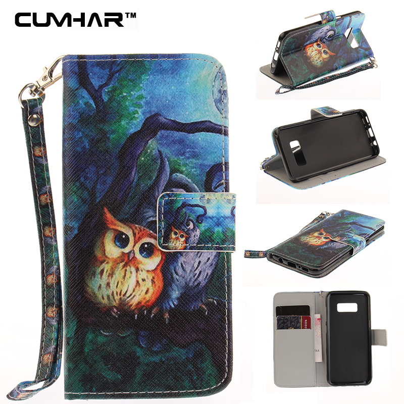 Funny Emoji Totems Owl PU Flip Wallet Leather Case Cover for Samsung Galaxy S5 I9100 S6 edge Plus S7 S8 Note 8 5 Note8 Note5